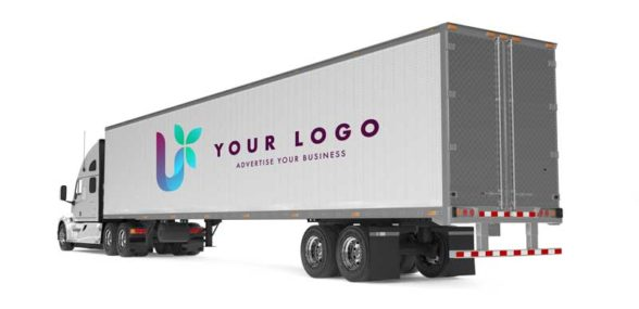 Semi Trailer with a Logo on it